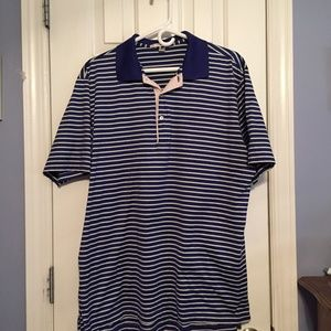 Peter Millar Men's Blue Striped Polo Shirt - Large